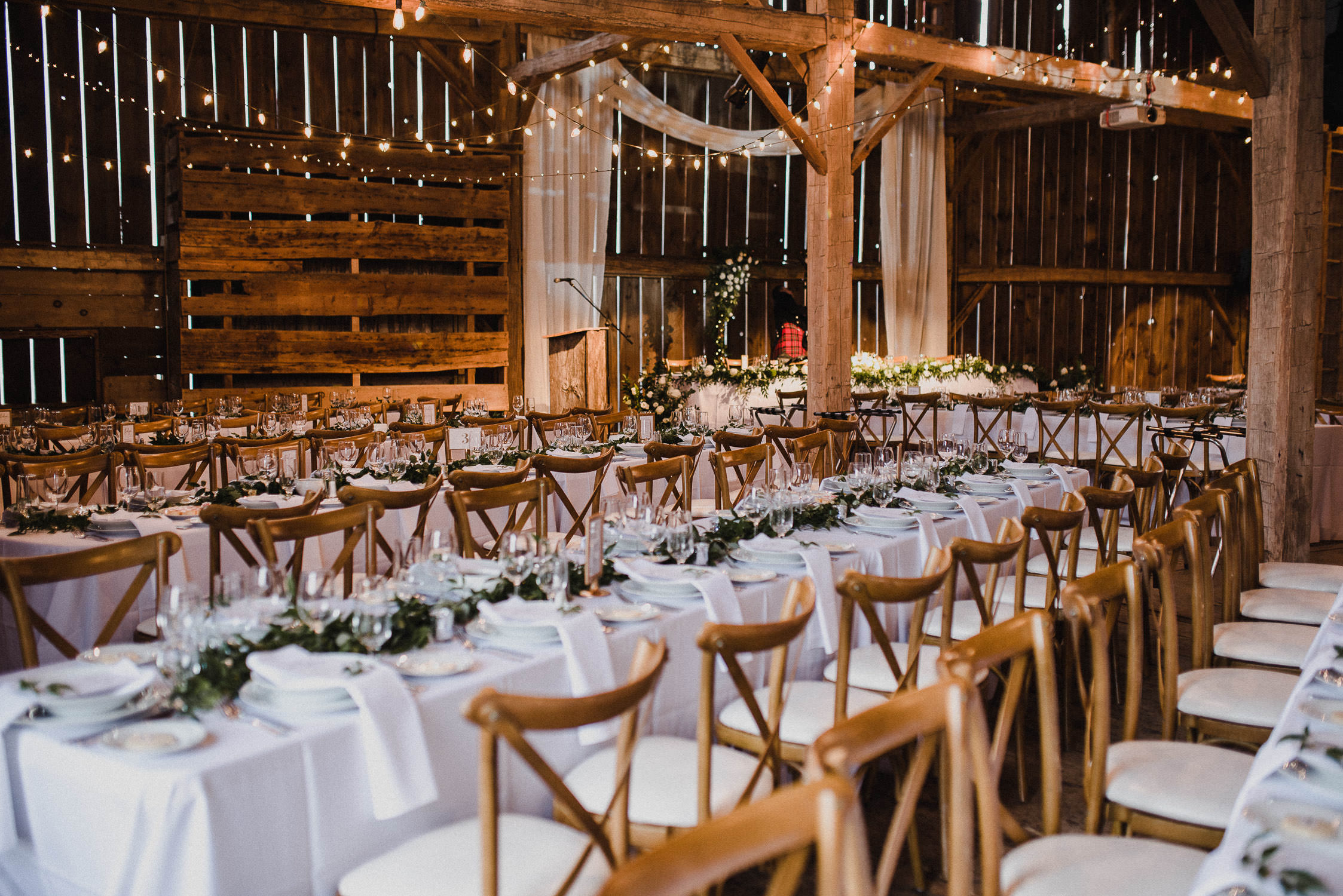 Reception hall in the barn at Cambium Farm.