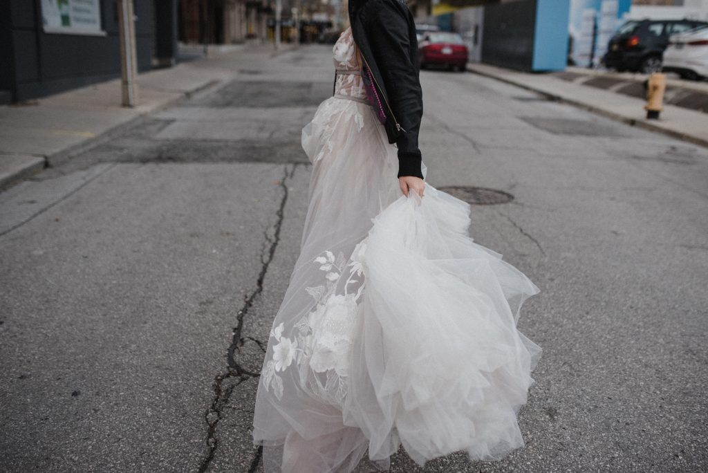 candid wedding dress image