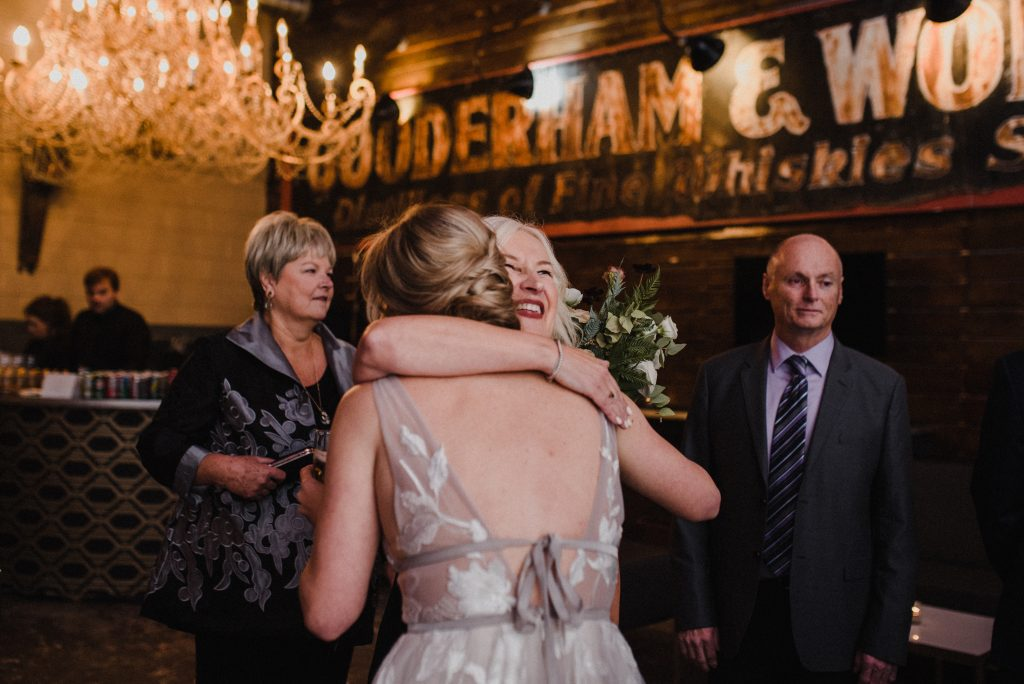 bride hugging