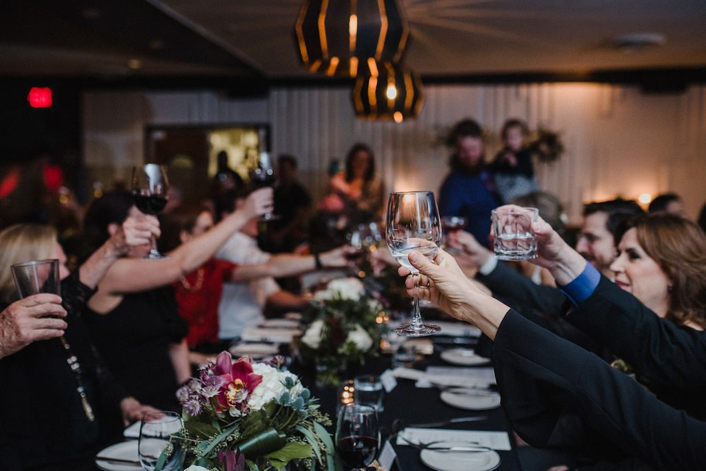 Guests raising a glass