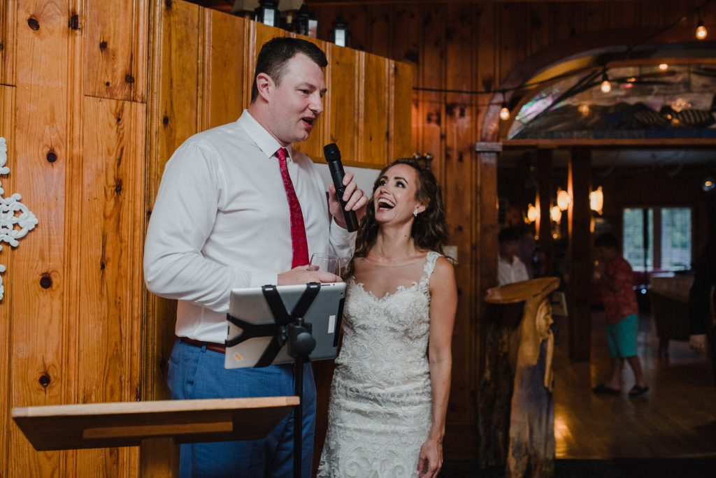 Bonnieview Inn Wedding - bride laughs at groom during speech