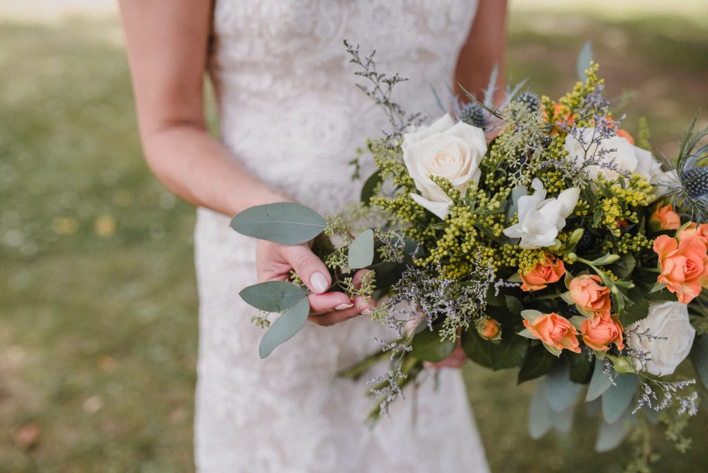 Bonnieview Inn Wedding - peach and sage bouquet