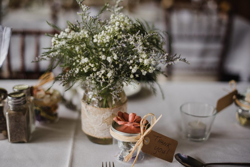Bonnieview Inn Wedding - baby's breath in vase on table