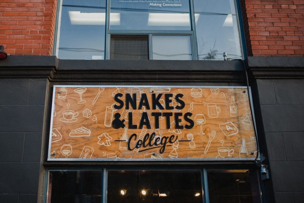 Liberty Village Engagement - Snakes & Lattes Front Entrance