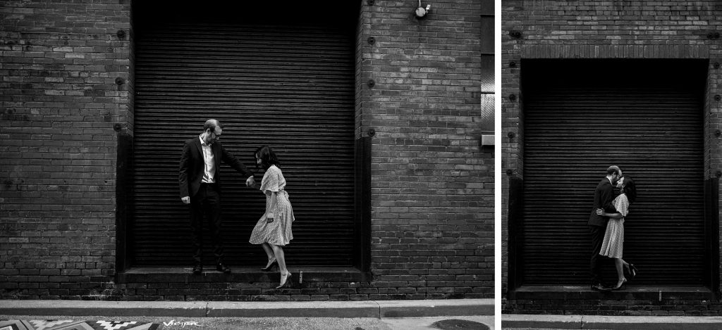 Liberty Village Engagement - couple kiss in loading dock