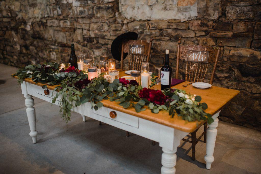 dyment's farm wedding - head table decor
