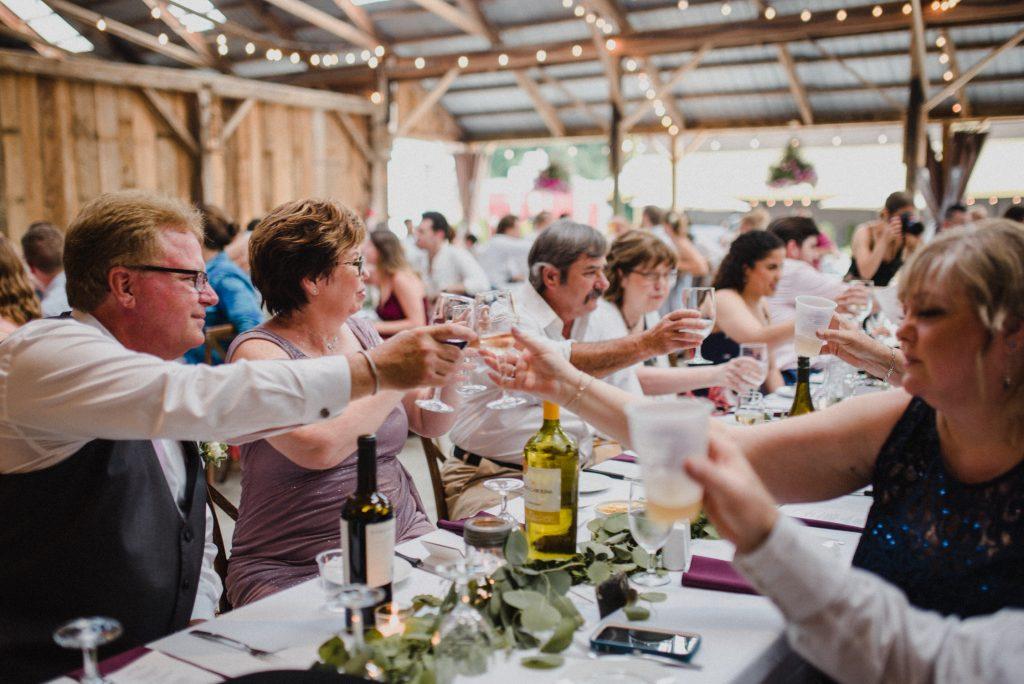 dyment's farm wedding - cheers