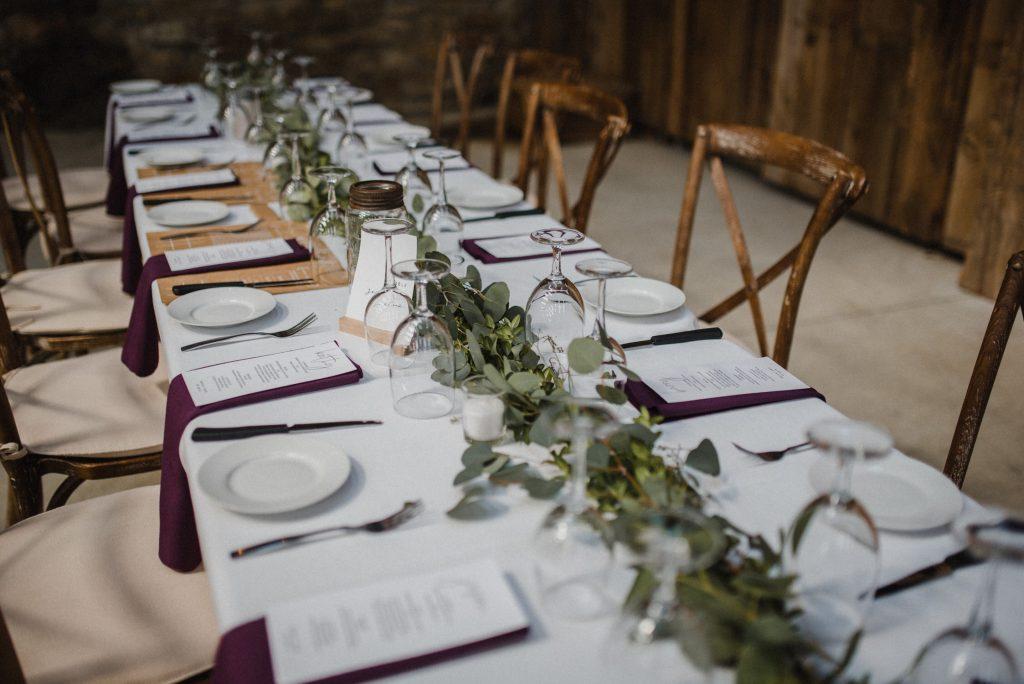 dyment's farm wedding - table decor