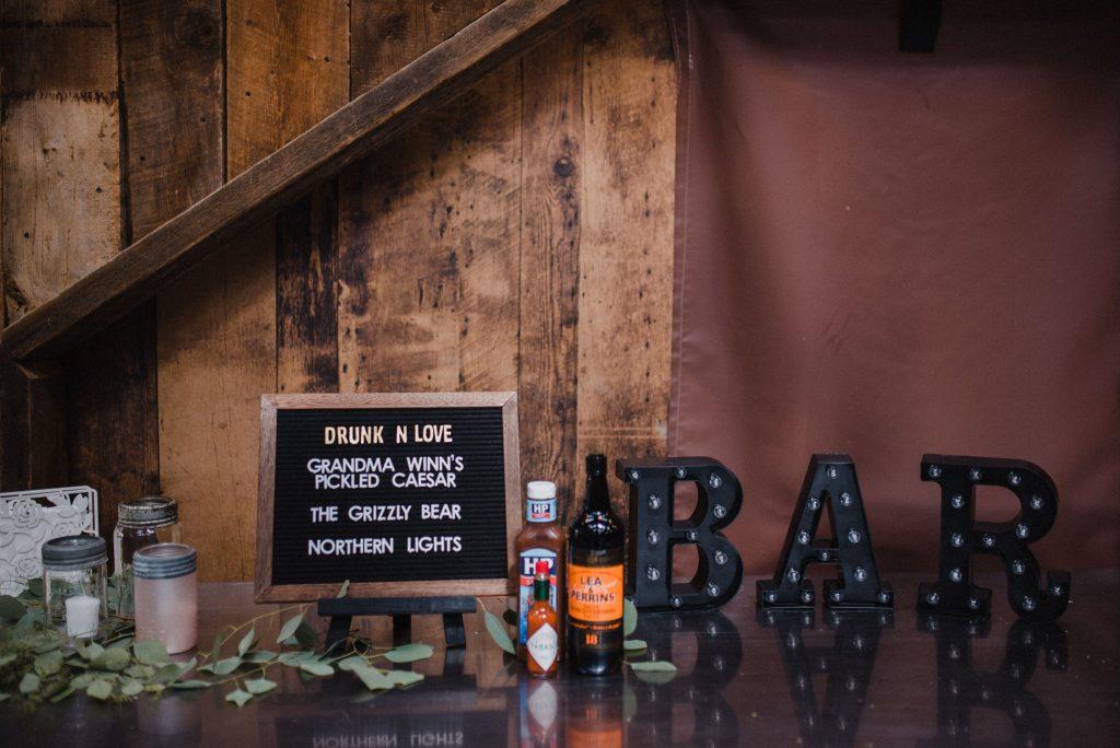 dyment's farm wedding - bar decor