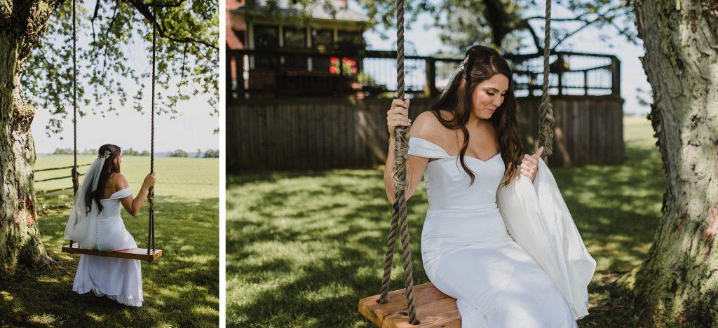 dyment's farm wedding - bride on swing