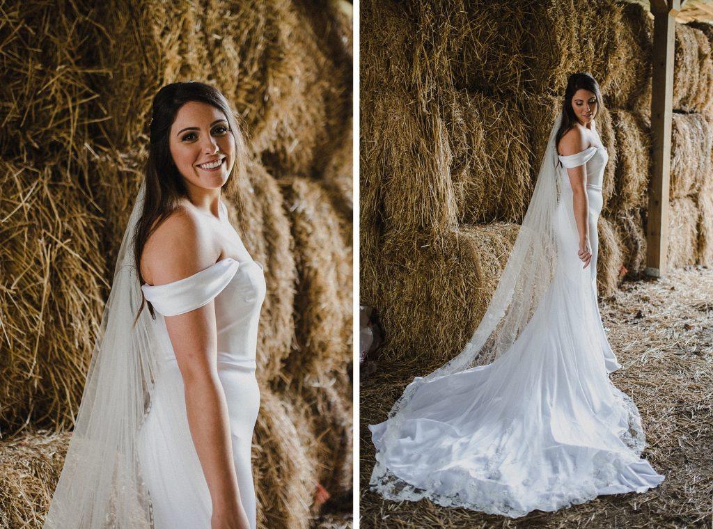 dyment's farm wedding - bridal portrait in barn with haystacks