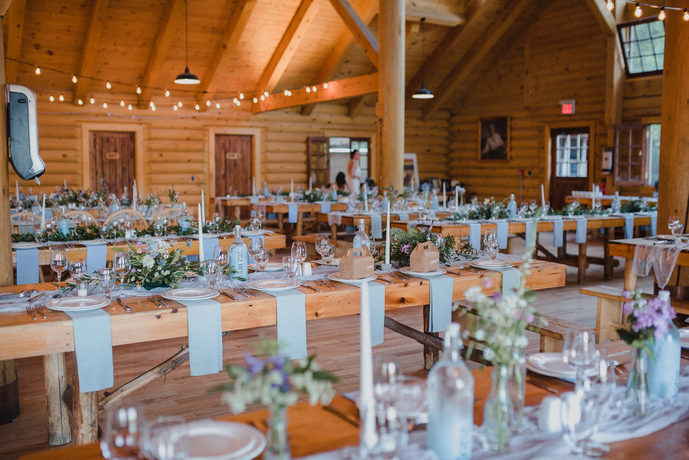 Arowhon Summer Camp Wedding Reception Decor.